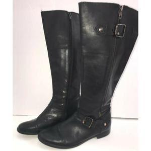 Aldo Wms Black Leather High Boots Detail Sz 9/39